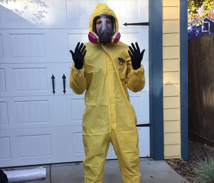 yellow covered suit with face mask ppe suit near me biohazard ppe gear near by biohazard cameron park bio in el dorado placer