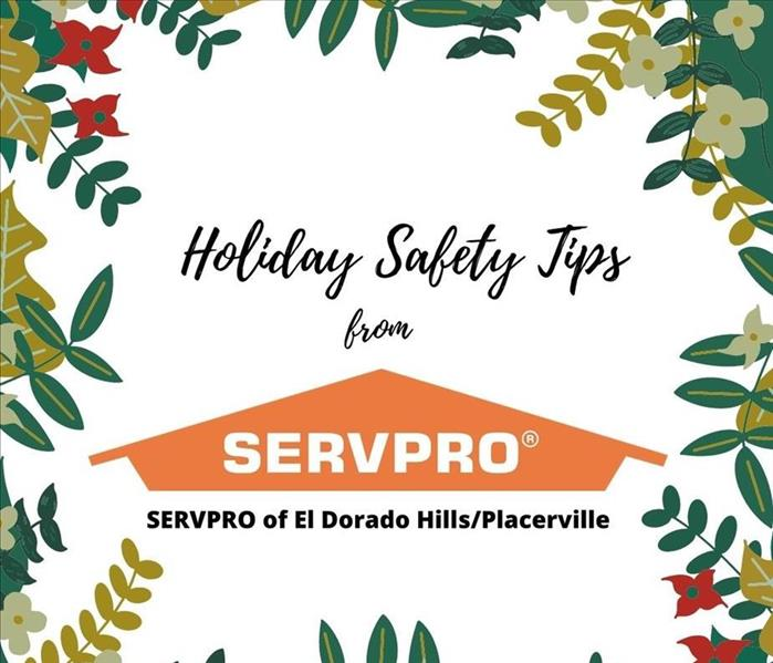 greenery and red poinsettia borders with black text 12 days of christmas safety tips from servpro fire damage near me nearby