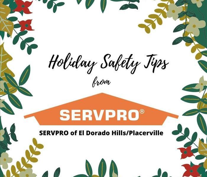 greenery and red poinsettia borders with black text of Christmas safety tips from SERVPRO